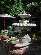 Fontain Metal Prints - Garden Fountain Metal Print by Pat Knieff