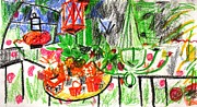 Container Drawings Prints - Garden Gala Print by Anita Dale Livaditis