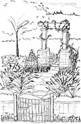 Container Drawings Prints - Garden Gate Print by Elizabeth Thorstenson