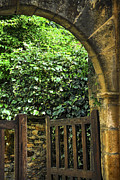 Historic Garden Prints - Garden gate in Sarlat Print by Elena Elisseeva