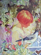 Waiting Room Prints - Garden Girl - Antique Collage Print by Eloise Schneider