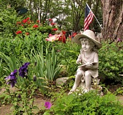 Red Geraniums Prints - Garden Girl Statue Print by Marilyn Smith