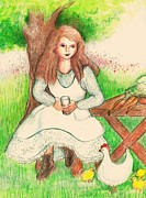 Garden Girl Taking A Break Print by Barbara LeMaster