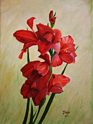 Gladiolas Painting Framed Prints - Garden Gladiolas Framed Print by Jimmie Bartlett
