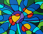 Sharon Cummings Paintngs Prints - Garden Goddess - Abstract Flower by Sharon Cummings Print by Sharon Cummings