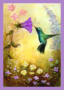 Nectar Mixed Media Posters - Garden Guest in Lavender Poster by Terry Webb Harshman