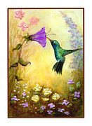 Nectar Mixed Media Posters - Garden Guest Poster by Terry Webb Harshman