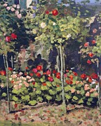 Garden Art Prints - Garden in Bloom Print by Claude Monet