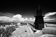 Garden Key Framed Prints - Garden Key Lighthouse Terreplein And Interior Soldiers Barracks On Fort Jefferson Dry Tortugas Natio Framed Print by Joe Fox