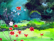 Tranquil Drawings Prints - Garden Magic Print by Anil Nene
