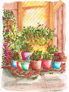 Urban  Drawings Paintings - Garden-near-my-apartment-West-Hollywood-CA by Carlos G Groppa