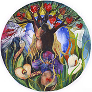 Garden-of-eden Paintings - Garden of Eden mandala by Kate Bedell