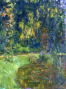 Pond.   Posters - Garden of Giverny Poster by Claude Monet