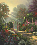 Breeze Framed Prints - Garden of Grace Framed Print by Thomas Kinkade