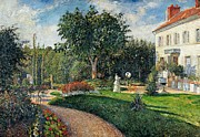 Camille Pissarro Framed Prints - Garden of les Mathurins at Pontoise Framed Print by Camille Pissarro