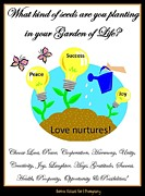 Posters On Digital Art Prints - Garden of Life Print by Bobbee Rickard