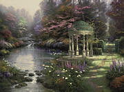 Gazebo Painting Framed Prints - Garden of Prayer Framed Print by Thomas Kinkade