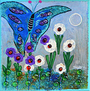 Glass Art Painting Posters - Garden Of The Full Moon Poster by Donna Blackhall