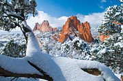 High Up Framed Prints - Garden of the Gods after a Snow Framed Print by John Hoffman