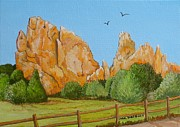 Famous Acrylic Landscape Paintings - Garden Of The Gods CO. by Carol Sabo