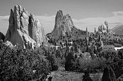 Snow Cap Photos - Garden of the Gods - Colorado Landscape Black and White BW by Jon Holiday