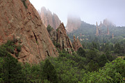 Colorful Cloud Formations Prints - Garden of the Gods in Fog Print by Richard Smith