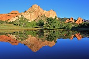 Reflections Of Sky In Water Prints - Garden of the Gods Reflecting Print by Diane Alexander