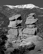 Snow-capped Peak Prints - Garden of the Gods Siamese Twins Pikes Peak - Colorado Landscape Black and White BW Print by Jon Holiday
