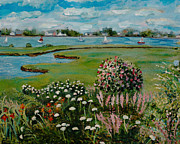 Cloudy Day Paintings - Garden on the Marsh by Rita Brown