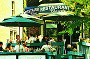 Resto Cafes Posters - Garden Party Celebrations Under The Cool Green Umbrellas Of Restaurant Chase Cafe Art Scene Poster by Carole Spandau