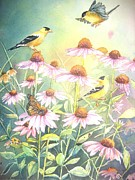 Goldfinch Prints - Garden Party Print by Patricia Pushaw