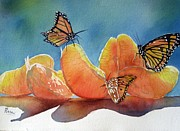 Orange Prints - Garden picnic Print by Patricia Pushaw