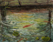 Koi Painting Originals - Garden Pond by Darice Machel McGuire