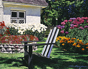 Lawn Chair Posters - Garden Resting Place Poster by  David Lloyd Glover