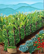 Green Beans Paintings - Garden by Sandi Ragg