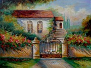 Summer Garden Scene Framed Prints - Garden scene with villa and gate Framed Print by Gina Femrite