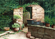 Shed Painting Posters - Garden Shed Ruins Poster by Penny Johnson
