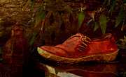 Shoe Digital Art - Garden Shoe Next to Koi Pond by Jean Moore