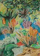 Watercolorist Framed Prints - Garden Splendor Framed Print by Esther Newman-Cohen