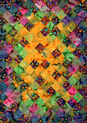 Quilting Machine Tapestries - Textiles Metal Prints - Garden Trellis Metal Print by Jean Baardsen