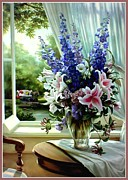 Vase Of Flowers Framed Prints - Garden View Framed Print by Ronald Chambers