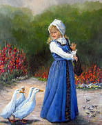 Gladiolas Paintings - Garden Visitors by Donna Tucker