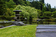 Japanese Lanterns Framed Prints - Garden Walkway Framed Print by Andrew Pacheco