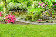 Azalea Bush Photo Prints - Garden With Fish Pond Print by John Trax