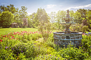 Fountains Prints - Garden with stone fountain Print by Elena Elisseeva