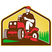Industrial Digital Art Prints - Gardener Landscaper Ride On Lawn Mower Retro Print by Aloysius Patrimonio