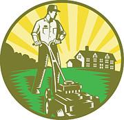 Gardener Mowing Lawn Mower Retro Print by Aloysius Patrimonio