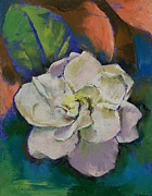 Florida Flowers Painting Prints - Gardenia Flower Print by Michael Creese