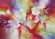 Semi Abstract Metal Prints - Gardenias Metal Print by Deborah Ronglien