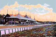Historic Architecture Paintings - Gardens And Grandstand At Saratoga Racetrack In 1908 by Dwight Goss